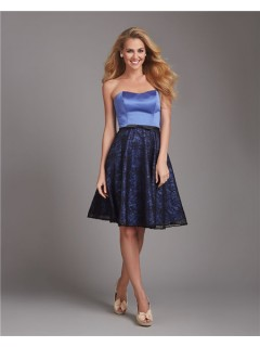 A Line Strapless Short Blue Satin Black Lace Bow Wedding Guest Bridesmaid Dress