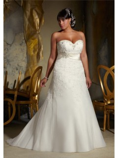 A Line Sweetheart Corset Organza Lace Beaded Plus Size Wedding Dress With Belt