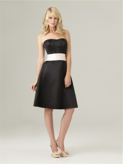 A line sweetheart knee length short black silk satin bridesmaid dress with sash