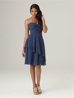 A line sweetheart knee length short navy blue chiffon ruffle bridesmaid dress