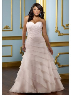 A Line Sweetheart Layered Blush Pink Organza Ruffle Plus Size Wedding Dress Corset Back