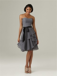 A line sweetheart short charcoal grey chiffon ruffle bridesmaid dress with black sash