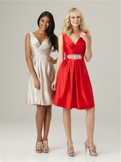 A line v neck knee length short red silk satin bridesmaid dress with beading belt