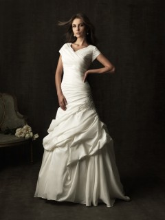 A line chapel train taffeta ruched modest wedding dress with short sleeves