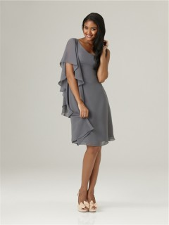 Asymmetrical one shoulder sleeve short charcoal grey chiffon bridesmaid dress with ruffles