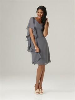Asymmetrical one shoulder sleeve short charcoal grey chiffon bridesmaid dress with ruffles