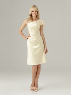 Column asymmetrical one shoulder flare Sleeve short daffodil satin bridesmaid dress