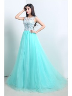 Cute Ball Gown Aqua Tulle White Lace Prom Dress With Buttons