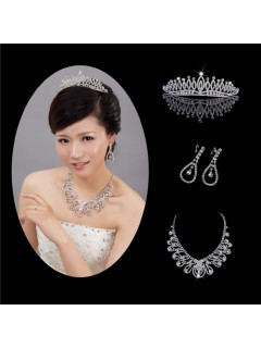 Elegant Shining Alloy crystals Wedding Bridal Jewelry Set,Including Tiara,Necklace and Earrings