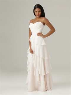 Elegant sweetheart floor length long white chiffon ruffle layered bridesmaid dress