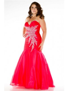 Fabulous Mermaid Sweetheart Long Red Tulle Beading Plus Size Party Prom Dress