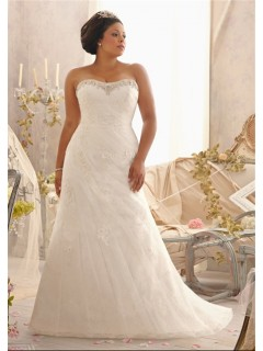 Fitted A Line Strapless Sweetheart Ruched Organza Lace Plus Size Wedding Dress Corset Back