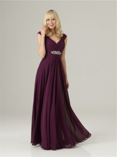 Formal Sheath v neck long purple chiffon bridesmaid dress with beading