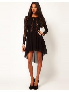High Low Hem Bateau Neck Short Front Long Back Black Lace Beaded Prom Dress Cut Out
