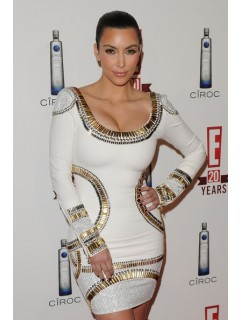 Kim Kardashian white long sleeve bandage bodycon dress