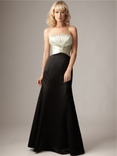 Mermaid strapless empire floor length long ivory black satin bridesmaid dress