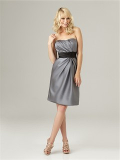 Sheath strapless short charcoal grey satin ruched bridesmaid dress with sash