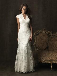 Trumpet Mermaid scalloped cap sleeve court train lace modest wedding dress