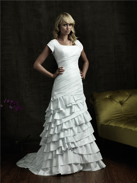 A line square court train cap sleeve tiered ruffle wedding dress