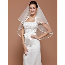 Simple Elegant White Plain Tulle Wedding Bridal Veil With Ribbon Edge