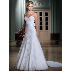 A Line 3 4 Sleeve Lace Jacket Wedding Dress With Bow Detachable Train