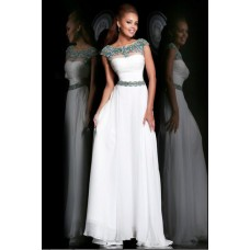 A Line Bateau Neck Cap Sleeve Long White Chiffon Beaded Evening Prom Dress V Back