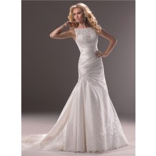 A Line Bateau Neck Taffeta Lace Wedding Dress With Low Back