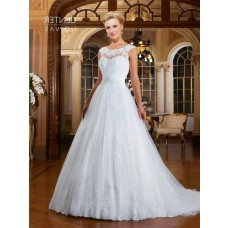 A Line Bateau Neckline Sheer Back Tulle Lace Beaded Wedding Dress With Buttons