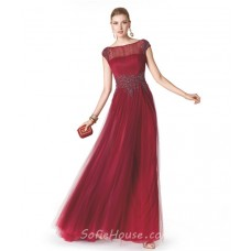 A Line Boat Neck Cap Sleeve Red Tulle Beaded Long Evening Prom Dress