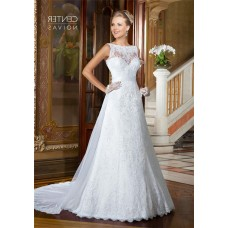 A Line Boat Neck V Back Sleeveless Lace Wedding Dress With Sash