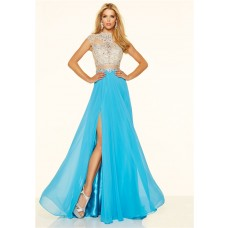 A Line Cap Sleeve High Slit Long Blue Chiffon Beaded Two Piece Prom Dress