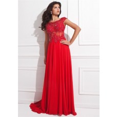 A Line Cap Sleeve Open Back Red Chiffon Lace Beaded Long Prom Dress