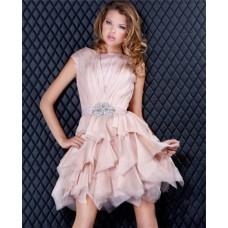 A Line Cap Sleeve Short Light Pink Organza Sweet Sixteen Cocktail Party Dress