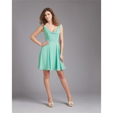 A Line Cowl Neck V Back Short Mint Green Chiffon Wedding Guest Bridesmaid Dress