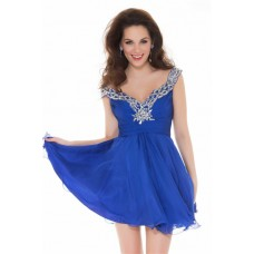 A Line Deep V Neck Short Royal Blue Chiffon Beading Homecoming Prom Dress