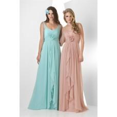 A Line Empire Waist Long Peach Chiffon Ruffle Wedding Guest Bridesmaid Dress With Straps Flower
