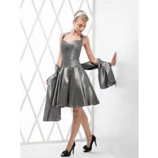 A Line Halter Sweetheart Open Back Short Grey Satin Beaded Party Prom Dress With Shawl
