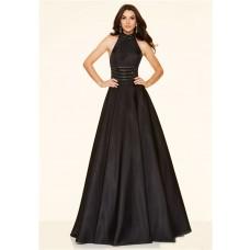 A Line High Neck Backless Long Black Taffeta Beaded Prom Dress