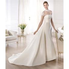 A Line High Neck Cap Sleeve Sheer Tulle Satin Wedding Dress With Detachable Train