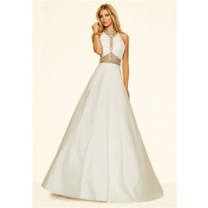 A Line High Neck Cut Out Long White Satin Beaded Prom Dress