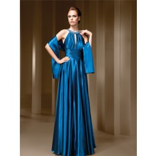 A Line High Neck Front Cut Out Open Back Blue Satin Draped Evening Dress With Shawl