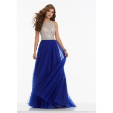 A Line High Neck Keyhole Open Back Long Royal Blue Tulle Beaded Prom Dress