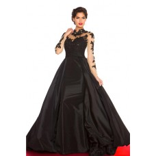 A Line High Neck Open Back Black Taffeta See Through Long Lace Sleeve Prom Dress
