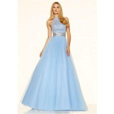A Line High Neck Open Back Long Light Blue Tulle Beaded Prom Dress