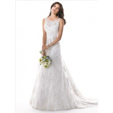 A Line Illusion Bateau Neck V Back Lace Wedding Dress With Ribbon Belt