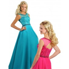 A Line Illusion Neckline Open Back Long Jade Chiffon Beaded Teen Prom Dress