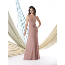A Line Illusion Scoop Neckline Chiffon Beaded Mother Of The Bride Formal Evening Dress