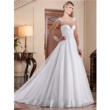 A Line Illusion Scoop Neckline Long Sheer Sleeve Lace Tulle Pearl Wedding Dress