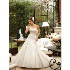 A Line Illusion Strapless Neckline Corset Back Tulle Lace Wedding Dress With Train