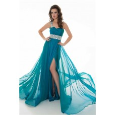 A Line One Shoulder Long Peacock Blue Chiffon Beading Party Prom Dress
